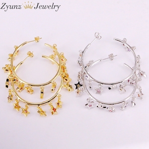 Image 3 - 3Pairs, Gold /silver Color cute cz star Earring with Shiny rainbow cz star For Women luxury charm party Jewelry