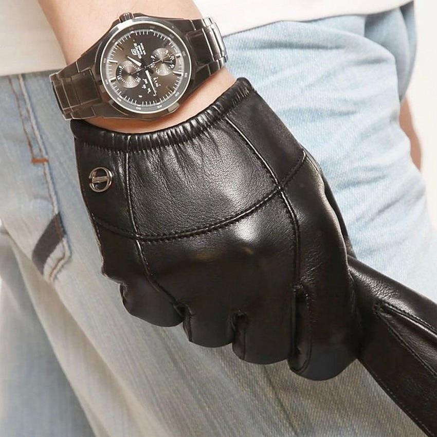 Gants en cuir véritable homme en peau de mouton mode mince mince main Style court conduite Anti-vent en cuir véritable homme gants EM004PN-1