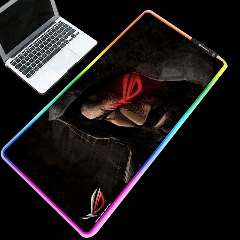 Yuzuoan RGB ROG Player Country Handsome Wallpaper Mouse Pad Backlit LED Keyboard Mouse Pad Speed Type Game Anti-skid Table Mat