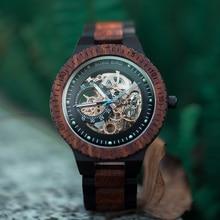 BOBO BIRD Wooden Mechanical Watch Reloj masculino Mens Watches Top Brand Luxury Timepieces With Bead Bracelet Orologio da uomo