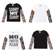 Novelty Tattoo Children Clothing Boys T Shirt Cotton Long Sleeve Kids Clothes Girls Tops Summer Boys T-Shirt Children Clothes