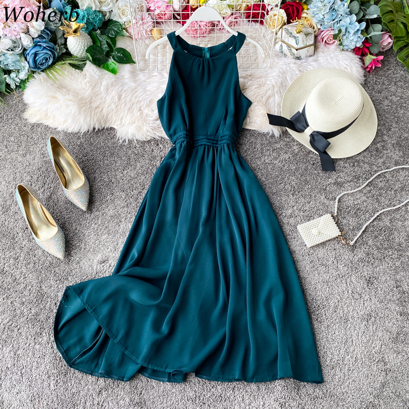 Woherb 2020 Women Vintage Mid-long Dress Sexy Halter Sleeveless Party Holiday Beach Dresses Ladies Casual High Waist Vestidos