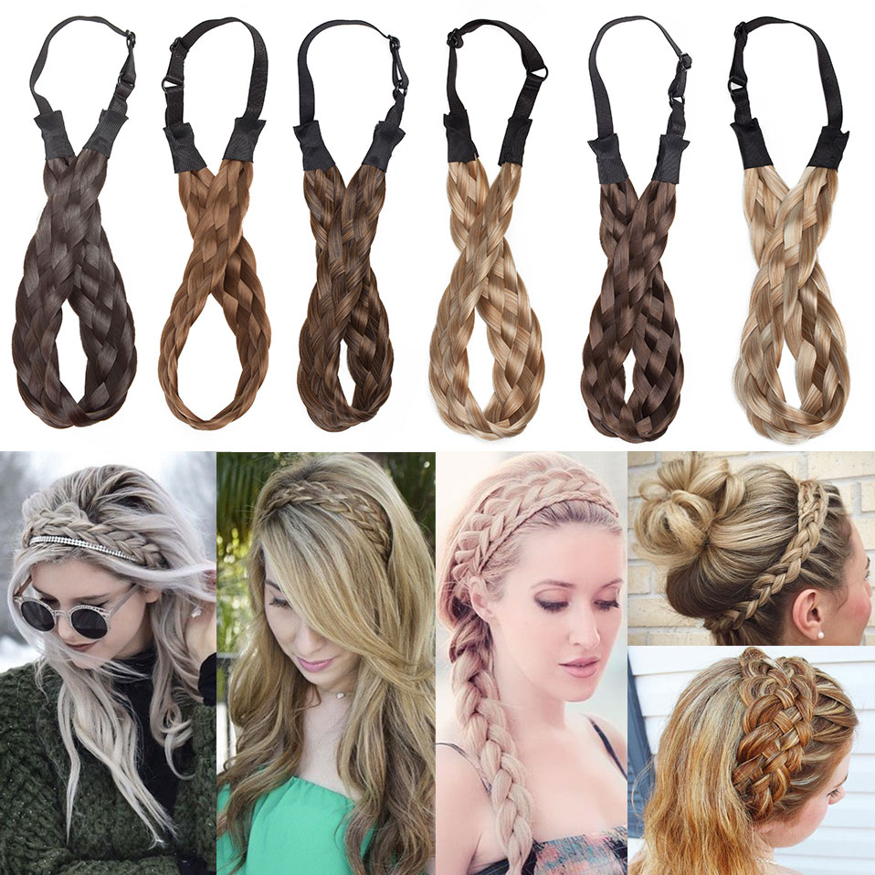 S-noilite Bohemian Plaited Headband Synthetic Braids Hair With Adjustable Belt Hairpiece Hair For Woman Hair Style Accessories