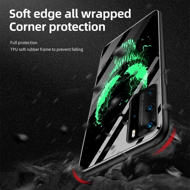 Coque Venom Luminous Glass Phone Case For Huawei P40 P30 P20 Pro Lite Honor 20 10 9 8X Mate 30 20 Bat Cover