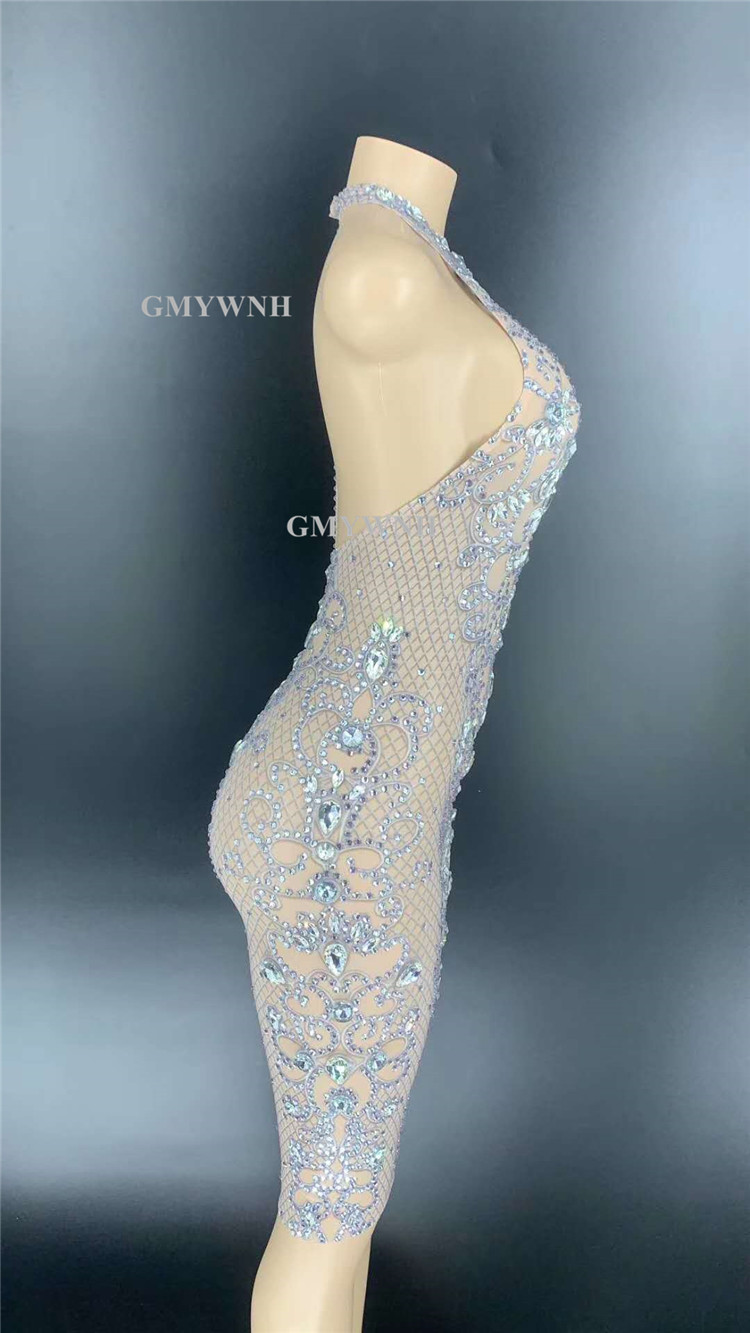 R63 Sexy female rhinestones evening dress sleeveless crystal hip skirt backless diamonds printed outfit drill pole dance dresses