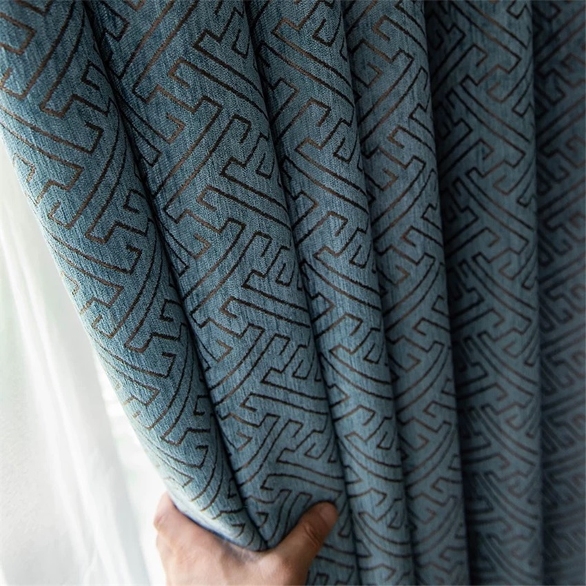 High-grade Geometric Jacquard Blackout Curtains Thicken Chenille Fabric For Living Room Bedroom White Tulle  Panel M131#4