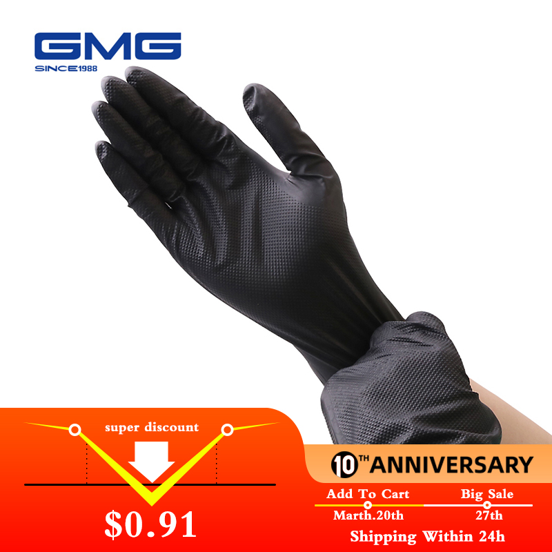 Durable Nitrile Gloves With Diamond Pattern GMG Black Orange Yellow Green 9 Inch 12 Inch Work Safety Gloves Guanti Nitrile