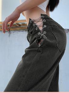 Women Jeans Pants Cross-Chain Wide-Leg High-Waist Fashion Sexy Ladies Hollow-Out YICIYA
