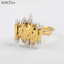 BOROSA Pearl Jewelry 5/10Pcs Gold Plating Natural Freshwater Adjustable Ring for Lady G1859