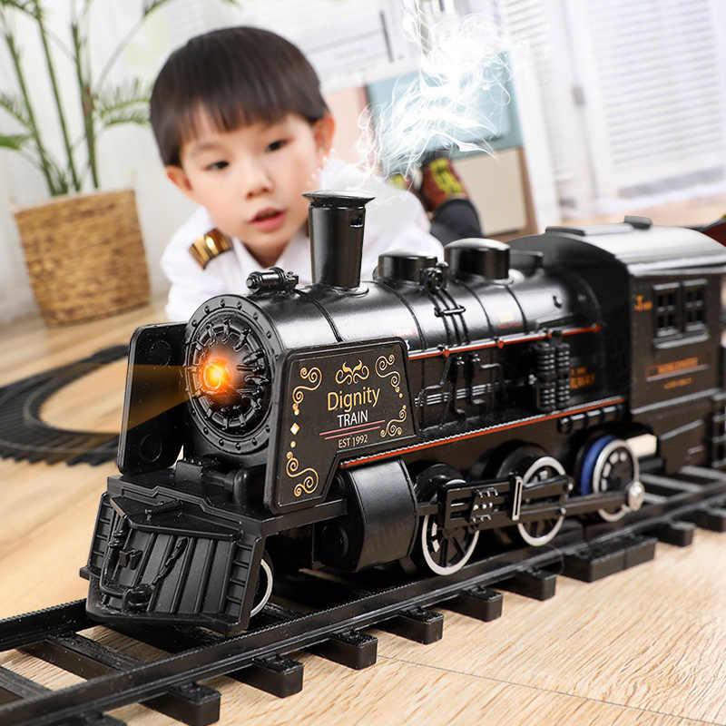 전기 기차 장난감 레일 원격 제어 기차 모델 철도 세트 기차 동적 증기 RC 기차 세트 시뮬레이션 모델 장난감 세트 새로운