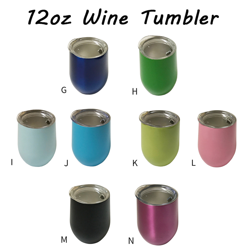100pcs lot 12oz Wine Tumbler Egg Shaped Beer Mug Vacuum Thermos Cup Graduation Party Christmas Gift