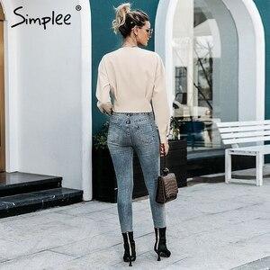 Image 5 - Simplee élégant col en v femmes blouse chemise à manches longues bouton femme chemise haute automne décontracté streetwear dames blouse chemise 2019