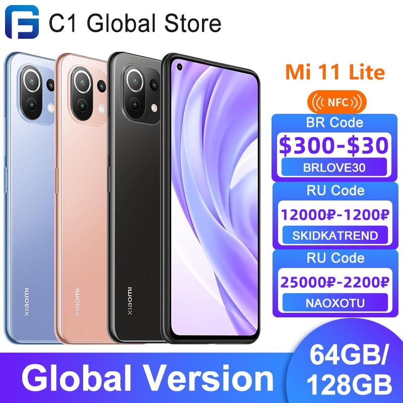 Глобальная версия Xiaomi Mi 11 Lite NFC 64GB/128GB Смартфон Snapdragon 732 Octa Core 64MP тыловая камера 33 Вт Быстрая зарядка