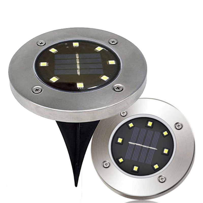 Image 5 - Solar Powered Disk Lights 8/12 LED Solar Pathway Lights Outdoor Waterproof Garden Landscape Lighting for Yard Deck Lawn Patio-in LED Lawn Lamps from Lights & Lighting