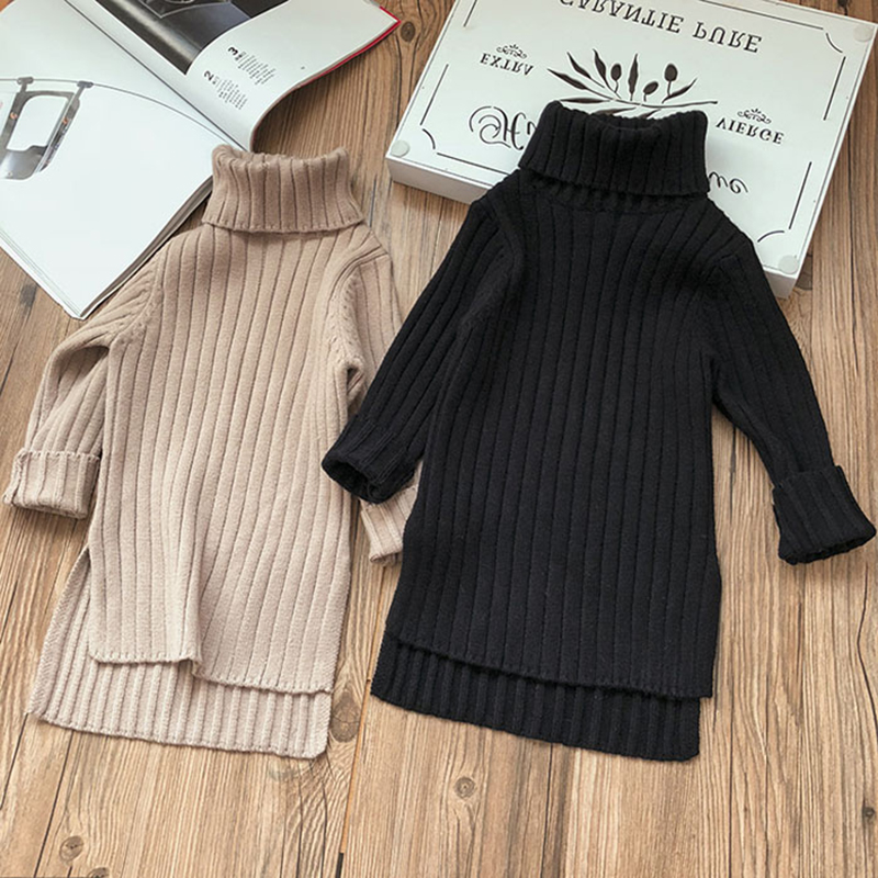 Menoea Girls Dresses Fall 2020 New Fashion Winter Item Girl Long Top Two Colors Toddler Turtleneck Sweater Clothes 2-7Y(China)
