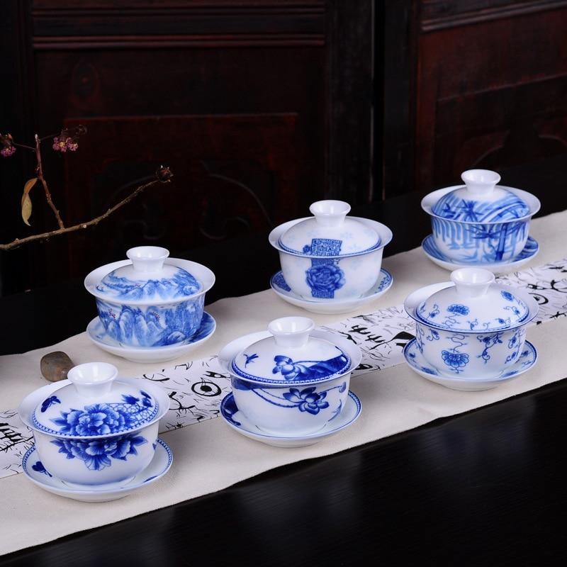 White porcelain blue and white ceramic Gaiwan tea set creative Coffee cup,ChineseTravel Tea Set,Drinkware Jingdezhen cup