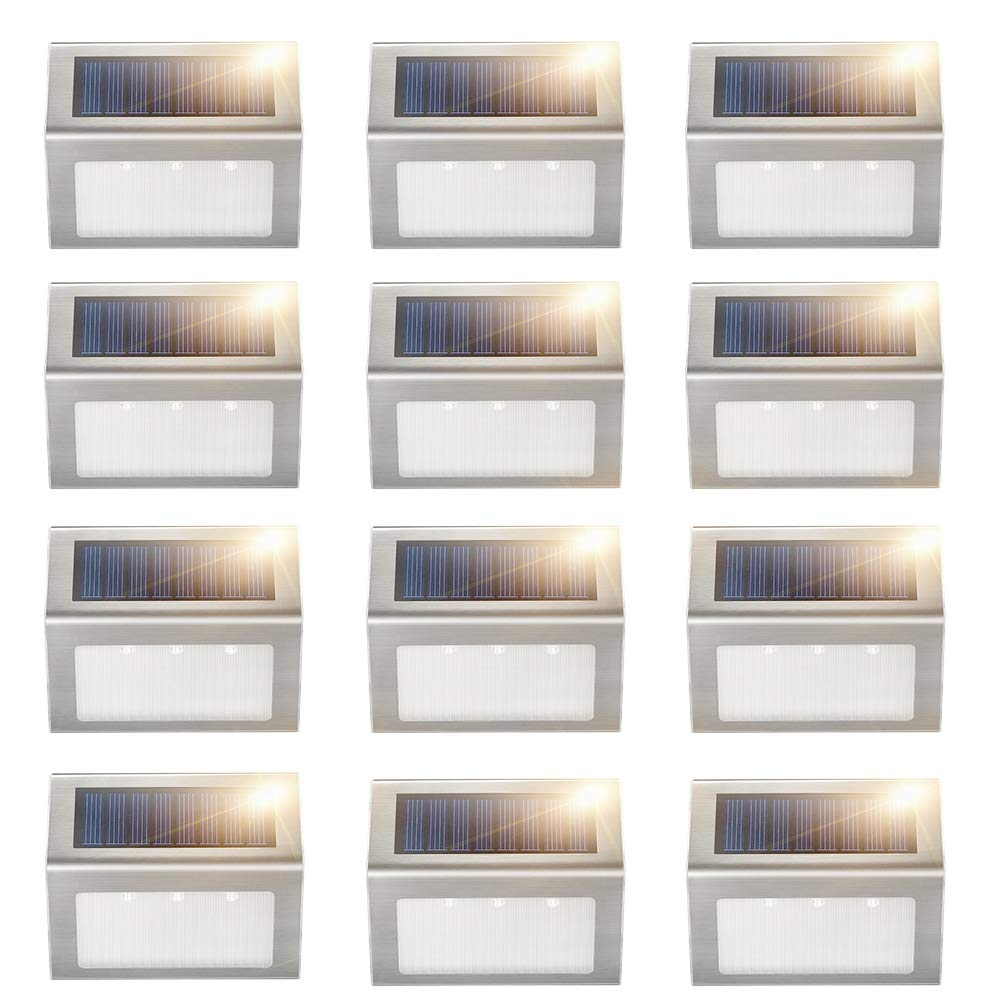 1/2/4/8 Pack 3Leds Solar Lamp For Garden Christmas Decor Step Stair Wall Lamps Focos Exterior Pathway Outdoor Waterproof Lights