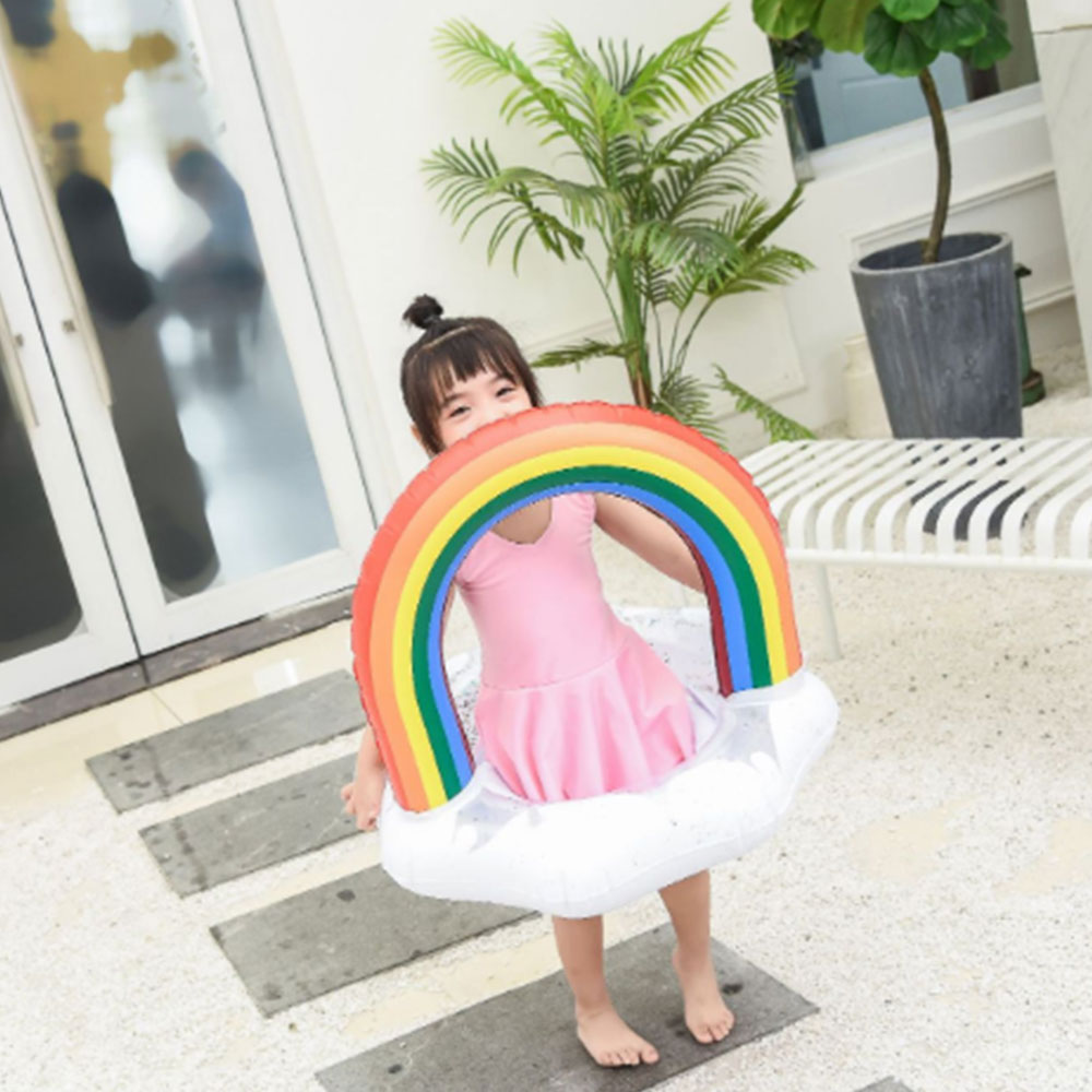 Rainbow Swim PVC Float Baby Seat Inflatable Ring Swimming Circle Pool Safety Training For Toddler Summer Pool Toys