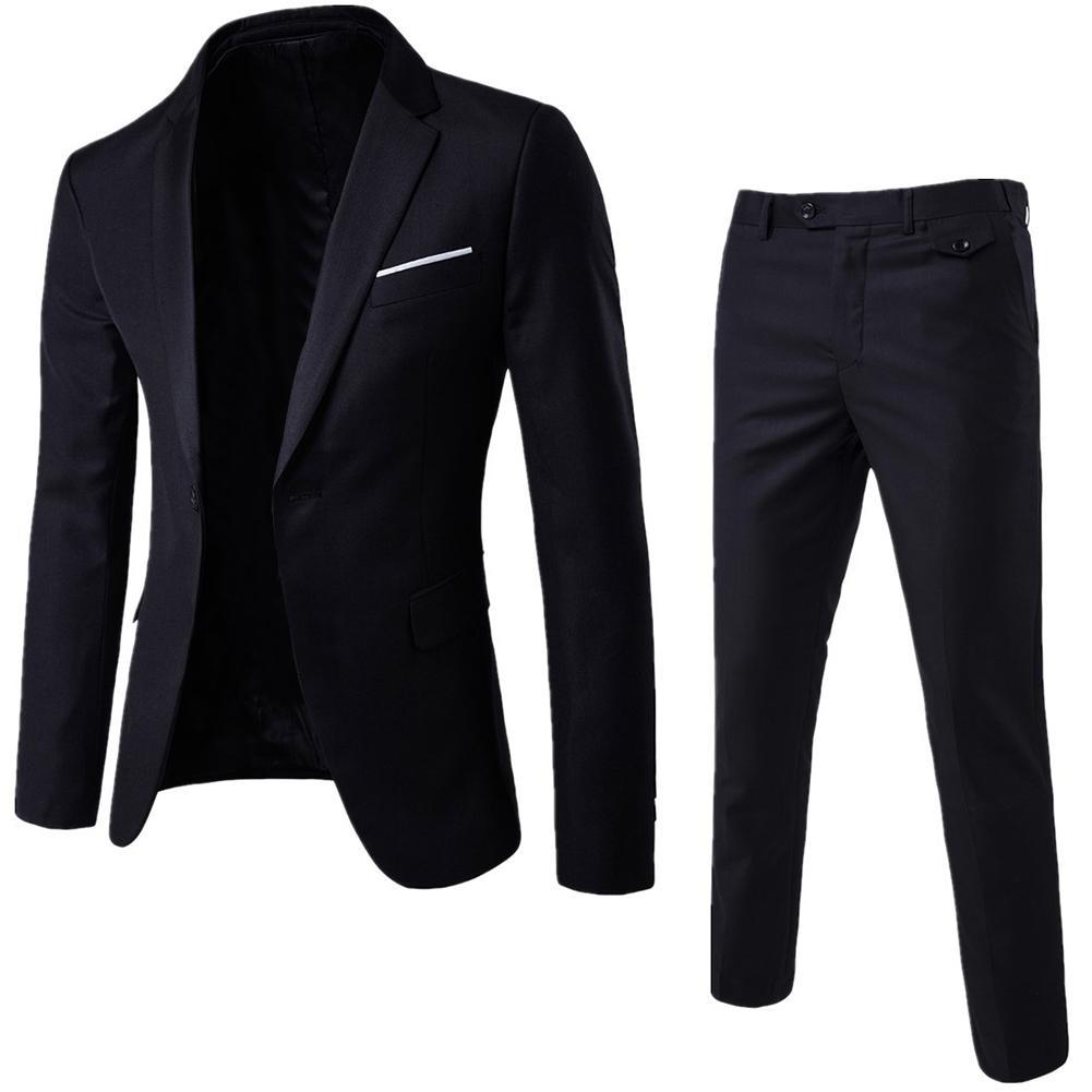 2Pcs/Set Plus Size Mens Solid Color Long Sleeve Lapel Slim Button Business Suit Autumn Fashion Solid Slim Wedding Set Vintage
