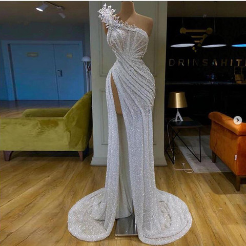 Vestidos de Baile Imagem Real Sexy Brilho Lantejoulas Prata Sereia Árabe Tamanho Grande 5 Estilos Cristal Alto Lado Dividir Longo
