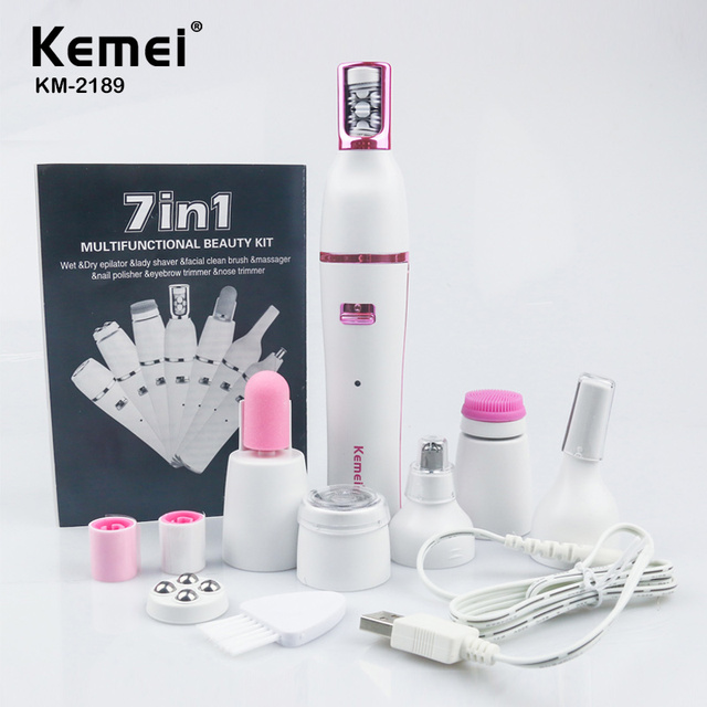Kemei 7 In 1 Nose Hair Beard Eyebrow Rechargeable Women Electric Trimmer Hair Remover Device Lady Epilator Skin Care Tool