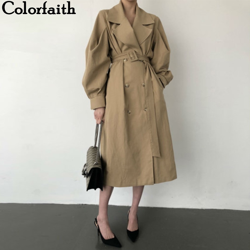 Colorfaith New 2019 Autumn Winter Women   Trench   Sashes Lace Up Double Breasted Fashionable Office Lady Korean Style Elegant Casual Long Coat Outerwear JK7041