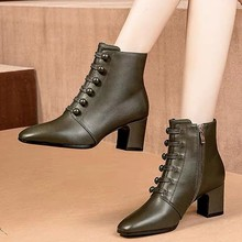 England Style Ankle Boots Women Leather Short Boot Button Winter Lady Elegant Ev