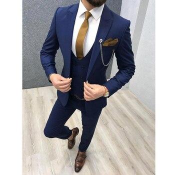Three Piece Royal Blue Men Suits Peaked Lapel Custom Made Wedding Tuxedos Slim Fit Male Suits (Jacket + Pants + Vest+Tie) 7