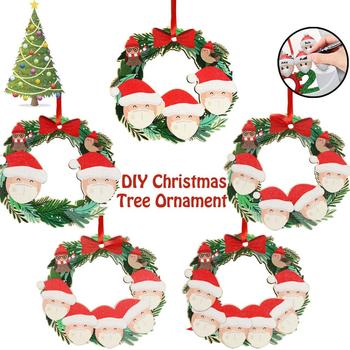 2020 Quarantine Christmas 3D Decoration Name Wishes Santa Claus Ceramics Resin Wooden Pendant Family Embossed Ornaments image