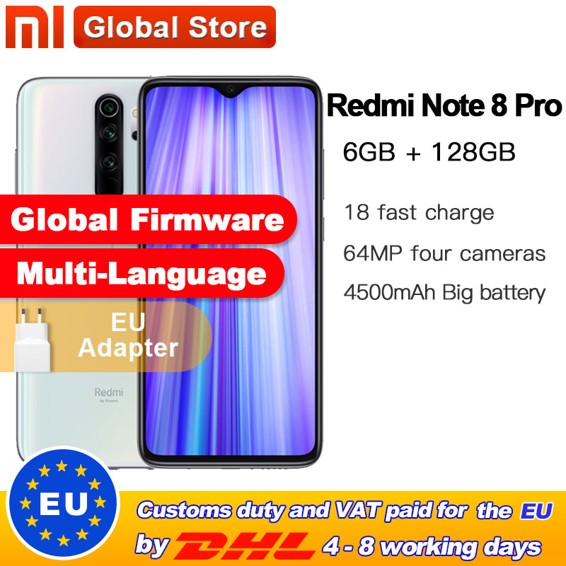 Global ROM Xiaomi Redmi Note 8 Pro 6GB 128GB Mobile Phone 64MP Quad Camera MTK Helio G90T Smartphone 4500 NFC