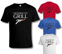 Funny 007 LICENSE TO GRILL Master Chef T SHIRT Sizes to 4XL New T Shirts Funny Tops Tee New Unisex Funny Tops(China)