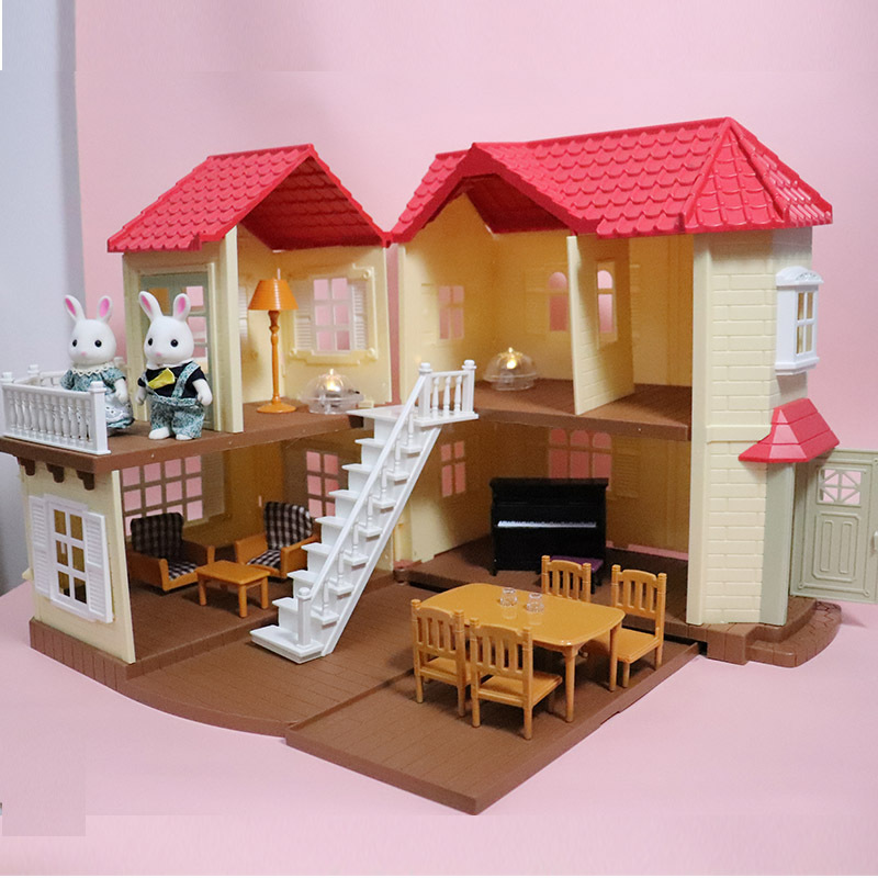 1:12 Forest House DIY Model Dollhouse Sweet Dream Cabin Furnitures Girl Play House Toys Mini Garden Villa Model Kids Product Toy