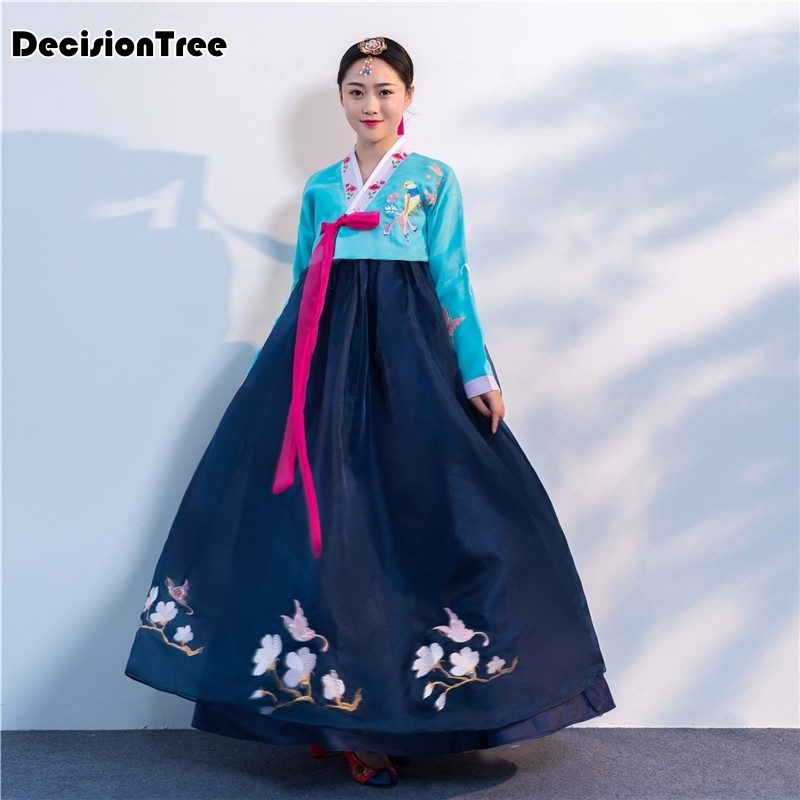 2019 Korean Style Traditional Vintage Hanbok Dress For Women V Neck Evening Party Dress Hanbok Lady Tunic National