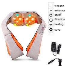 Massagem elétrica xale shiatsu multifuncional u forma volta pescoço ombro corpo massageador infravermelho aquecido 4d amassar carro/casa
