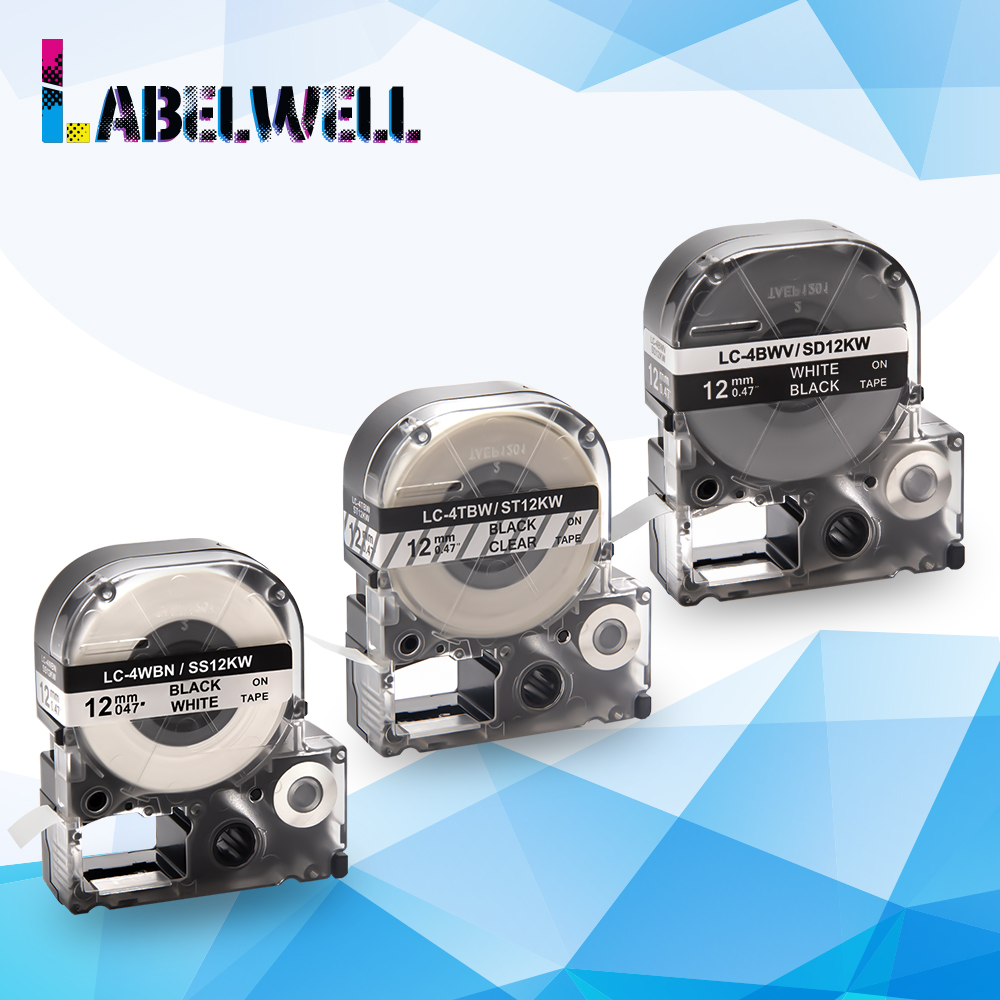 Labelwell 3pcs Multicolors SS12KW LC 4WBN label tapes label ribbon compatible for EPSON LW 300 LW