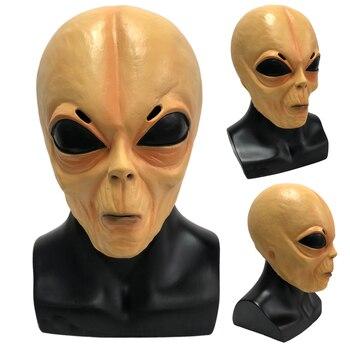 Horror Alien Mask Cosplay Scary Full Face UFO Alien Latex Masks Helmet Halloween Masquerade Party Costume Props frankenstein horror mask cosplay latex masks helmet halloween party costume props