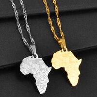 Anniyo Kleine Größe Afrika Karte Mit Land Flagge Anhänger Kette Halsketten Afrikanische Karten Schmuck für Frauen Mädchen #204021