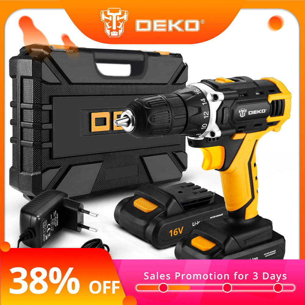 DEKO New Banger 20V Cordless Drill Electric Screwdriver Mini Wireless Power Driver DC Lithium-Ion Battery 3/8-Inch 2 Speed