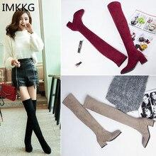 Г., женские сапоги выше колена модная универсальная зимняя обувь с острым носком Элегантные Универсальные женские сапоги, a836