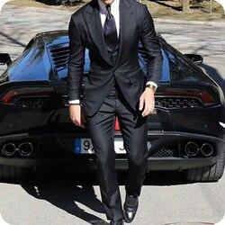 Последние остроконечные нагрудные Мужские свадебные костюмы Черные смокинги для жениха trajes de hombre 3 шт. костюм для выпускного вечера Masculino