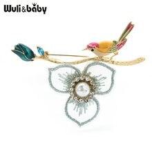 Wuli & bebê beleza esmalte pássaro flor broches para as mulheres strass rendas flor casamentos casual escritório broche presentes