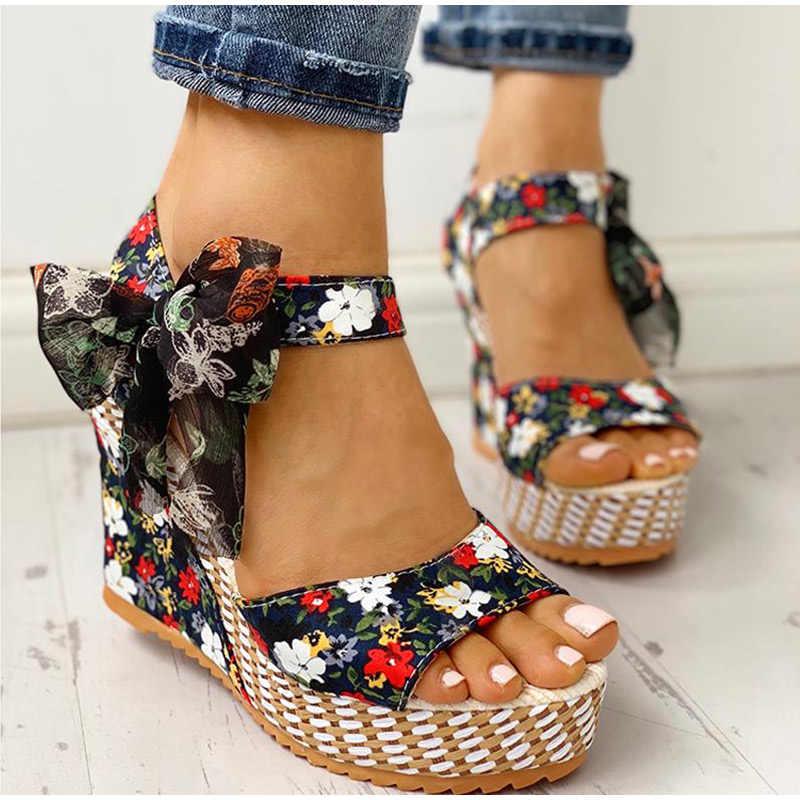 Hoa Nêm Giày Sandal 2020 Mới Peep Toe Nữ Mùa Hè Giày Cao Gót Bohemia Phối Nút-Nơ Giày Sandal Nữ Nền Tảng Tiệc Cưới giày
