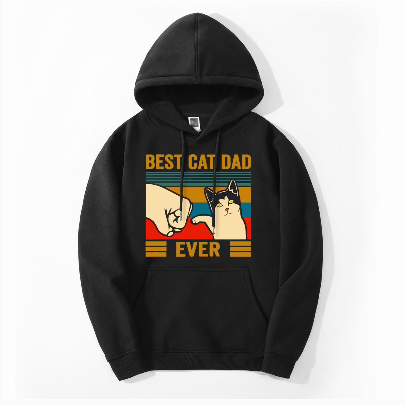 Funny Print Best Cat Dad Ever Hoodies Men Casual Hooded New Style Fashion Pullover Fitness Sportswear Loose Animal Cats Hoody