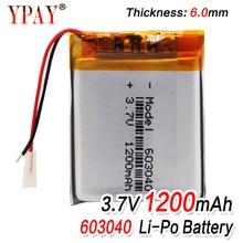 3.7V 1200mAh 603040 Li-ion Lipo Battery Lithium Polymer Li-Po li ion cells For Speaker Alarm GPS MP3 MP4 Toy DIY