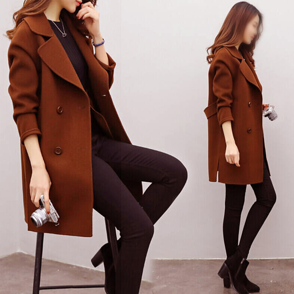 Women Coat Autumn Winter Thickening Fashion Double Breasted Artificial Wool Warm Slim Fit Daily Long Sleeve