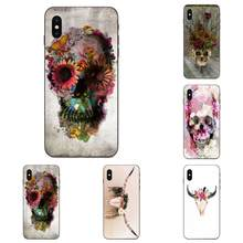 TPU Case Bloemen Bloem Schedel Voor Apple iPhone 4 4S 5 5S SE 6 6S 7 8 11 Plus X XS Max XR Pro Max(China)