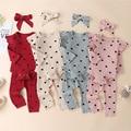 Комплект одежды из 3 предметов из 100% хлопка для маленьких девочек; Комбинезон с длинными рукавами; Однотонный костюм в полоску для новорожде...