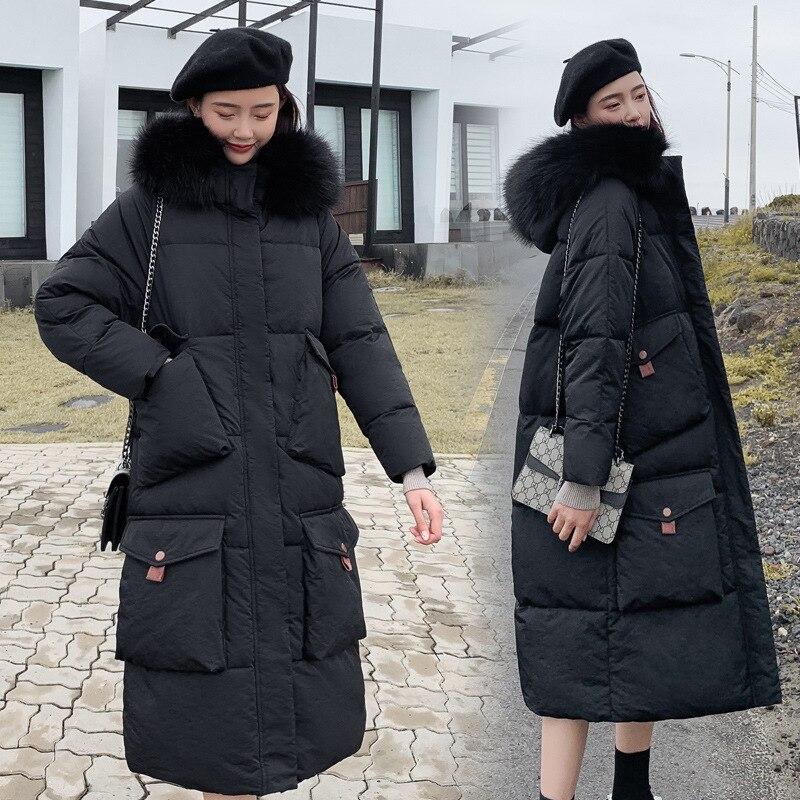 QIHUANG Winter X-Long Women   Down     Coat   Warm Fur Collar Hooded Jacket 2019 Fashion Winter Women Parkas   Coat   With Big Packets
