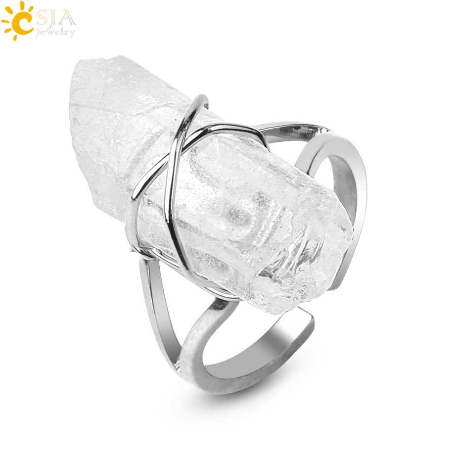CSJA ไม่สม่ำเสมอหินธรรมชาติเปิดแหวนคริสตัลเสาสีเงินห่อแหวนผู้หญิงเครื่องประดับอินเทรนด์ PARTY g455