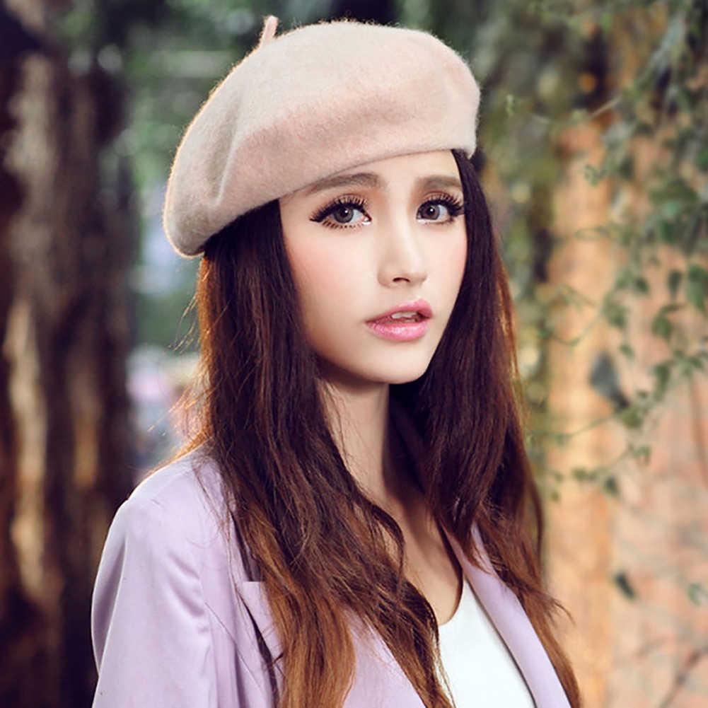 女性のガールベレー帽フランス人アーティスト暖かいウール冬ビーニー帽子キャップヴィンテージ無地ベレー帽帽子ソリッドカラーのエレガントな女性の冬キャップ